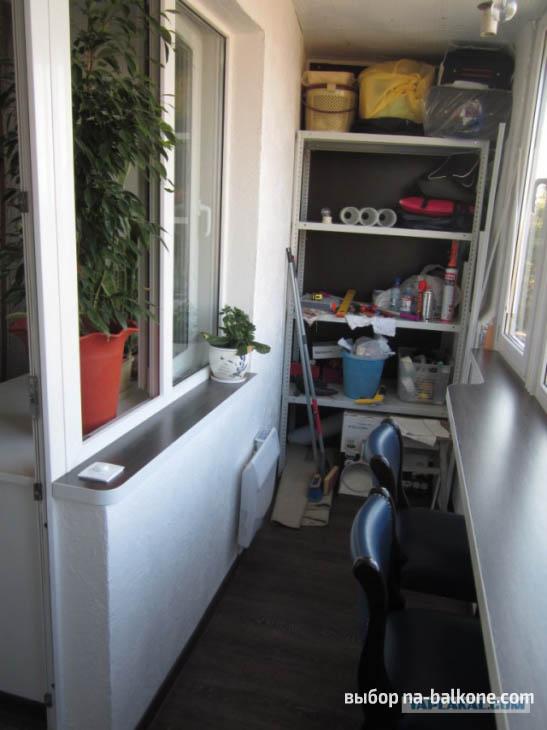 Утепление и ремонт лоджии с установкой барной стойки и  отделкой декоративной штукатуркой