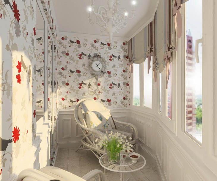 балкон с плетеной мебелью и ролл-шторами