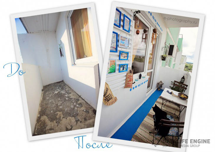 Открытый балкон площадью 3.5 кв.м. в средиземноморском стиле